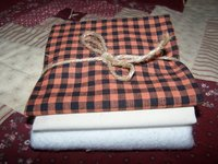 "Orange and Black Homespun Check 18"" x 18"" Bundle Set."