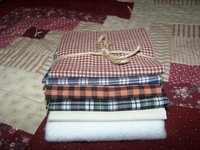 "Four Homespun Check Material Fat Square 18"" x 18"", Muslin, Batting Set!"