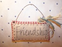 "Primitive Homespun Stitched Potpourri ""Friendship"" Pillow with Wire Hanger, Green Homespun and Raffia Bow!"