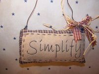 "Primitive Homespun Stitched Potpourri ""Simplify"" Pillow with Wire Hanger, Burgandy Homespun and Raffia Bow!"