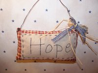 "Primitive Homespun Stitches Potpourri ""Hope"" Pillow with Wire Hanger, Blue Homespun and Raffia Bow!"