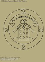 "Primitive Stitchery E-Pattern, ""All birdies welcome!"" Candle Mat"