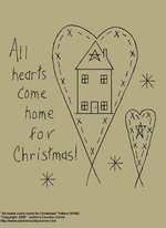 "Primitive Stitchery E-Pattern, ""All hearts come home for Christmas!"""