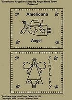"Primitive Stitchery Pattern, ""Americana Angel and Simplify Angel!"" Hand Towel Patterns!"