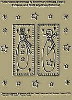 "Primitive Stitchery Pattern ""Americana Snowman & Snowman w/Heart Towel Patterns/ Quilt Applique Patterns!"""
