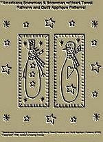 """Primitive Stitchery Pattern """"Americana Snowman & Snowman w/Heart Towel Patterns/ Quilt Applique Patterns!"""""""
