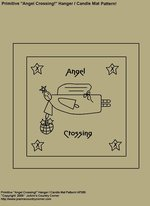 "Primitive Stitchery Pattern, ""Angel Crossing!"" Hanger / Candle Mat Pattern!"