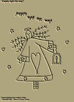 "Primitive Stitchery Pattern, ""Angels light the way!"""