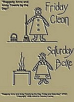 "Primitive Stitchery Pattern Prim ""Raggedy Anne and Andy Friday Clean, Saturday Bake Towels by the Day!"" Patterns!"