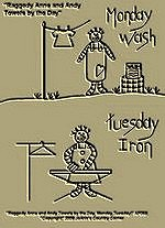 "Primitive Stitchery Pattern Prim ""Raggedy Anne and Andy Monday Wash and Tuesday Iron Towels by the Day!"" Pattern"