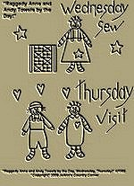 "Primitive Stitchery Pattern Prim ""Raggedy Anne and Andy Towels by the Day Wednesday Sew, Thursday Visit!"""