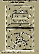"Primitive Stitchery E-Patterns ""A Primitive Welcome and I Love Winter Snowman!"" Hand Towel Patterns!"