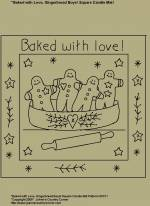 "Primitive Stitchery Pattern, ""Baked with love!"" Square Candle Mat Pattern!"