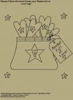 """Primitive Stitchery E-Patterns, """"Basket fill with Heart Ornies with Primitive Tag!"""" E-Pattern"""