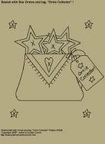 "Primitive Stitchery E-Pattern, ""Basket with Star Ornies and Primitive Tag!"" E-Pattern"