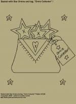 "Primitive Stitchery E-Pattern, ""Basket with Star Ornies and Primitive Tag!"" E-Pattern"