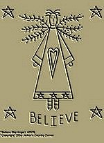 "Primitive Stitchery Pattern Primitive ""Believe Star Angel!"""