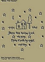 "Primitive Stitchery Pattern ""Bless This House!"""