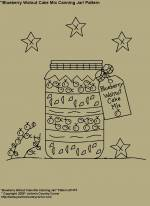 "Primitive Stitchery Pattern, ""Blueberry Walnut Cake Mix Canning Jar!"" Pattern"