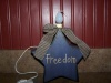 "Primitive ""Freedom"" Navy Blue Star Box with Candle Light and Navy Blue Check Homespun Bow!"