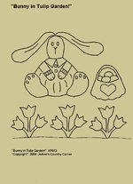 "Primitive Stitchery Pattern, ""Bunny in Tulip Garden!"""