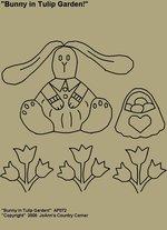 "Primitive Stitchery Pattern, Prim ""Bunny in Tulip Garden!"""