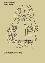 "Primitive Stitchery Pattern, ""Cassy Bunny with Carrots!"""