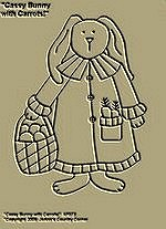 "Primitive Stitchery Pattern, Prim ""Cassy Bunny with Carrots!"""