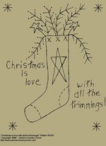 "Primitive Stitchery Pattern, ""Christmas is love with all the trimmings!"""