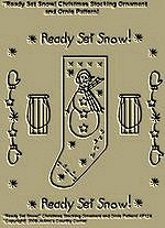 "Primitive Stitchery Pattern, "" Ready Set Snow!"" Christmas Stocking Ornament and Ornie Pattern!"