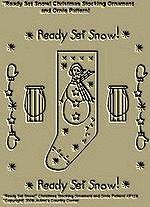 "Primitive Stitchery Pattern, "" Ready Set Snow!"" Christmas Stocking Ornament and Ornie Pattern!"