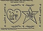 "Primitive Stitchery Pattern ""Colonial House Heart & Wreath'n Star Towel Patterns/ Quilt Applique Patterns!"""