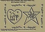 "Primitive Stitchery Pattern ""Colonial House Heart & Wreath'n Star Towel Patterns/ Quilt Applique Patterns!"""