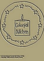 "Primitive Stitchery Pattern Candle Mat ""Colonial Kitchen!"""