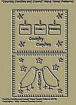 "Primitive Stitchery Patterns, ""Country Candles and Crows!"" Hand Towel Patterns!"