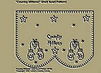"Primitive Stitchery Pattern, ""Country Mittens!"" Shelf Scarf Pattern!"