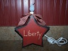 "Primitive ""Liberty"" Country Red Star Box with Candle Light and Country Red Check Homespun Bow!"