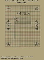 "Primitive Cross Stitch Stitchery Pattern, Quick and Easy! "" America Flag!"""