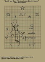 "Primitive Cross Stitch Stitchery Patterns "" Joy Snowman!"" Quick and Easy Stitchery Pattern"