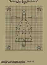 "Primitive Cross Stitch Stitchery Pattern, Quick and Easy! "" Peace Angel!"""