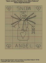 "Primitive Cross Stitch Stitichery Pattern, Quick and Easy "" Snow Angel Snowman!"""
