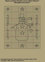 "Primitive Cross Stitch Stitchery Pattern, Quick and Easy ""Snowflake Snowman!"""
