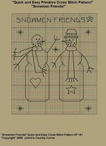 "Primitive Cross Stitch Stitchery Pattern ""Snowmen Friends!"" Quick and Easy Cross Stitchery Pattern!"