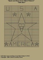 "Primitive Cross Stitch Stitchery Pattern! Quick and Easy "" USA Star!"""