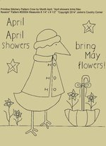 "Primitive Stitchery E-Pattern Crow by Month April "" April showers bring May flowers!"""