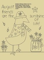 "Primitive Stitchery E-Pattern Crow by Month August, ""Friends are the sunshine of life!"""