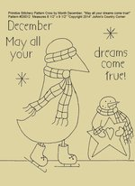 "Primitive Stitchery E-Pattern Crow by Month December ""May all your dreams come true!"""
