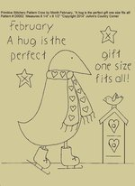 "Primitive Stitchery E-Pattern Crow by Month February, ""A hug is the perfect gift one size fits all!"""