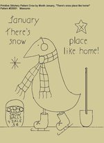 "Primitive Stitchery Pattern Crow by Month January ""There's snow place like home!"""
