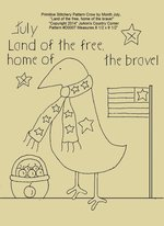 "Primitive Stitchery E-Pattern Crow by Month July, ""Land of the free, home of the brave!"""